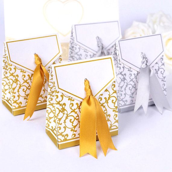 50 DIY Wedding Favor Boxes/Victorian Scroll Pattern/Gold or