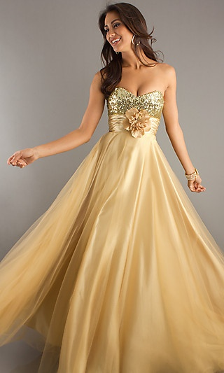 Strapless Sweetheart Prom Dress at PromGirl.com: Gold Prom Dresses, Strapless Sweetheart, Bridesmaid Dresses, Sweetheart Prom Dresses, Bridal Gowns, Grad Dresses, Sweetheart Dresses, Formal Gowns, Gold Wedding