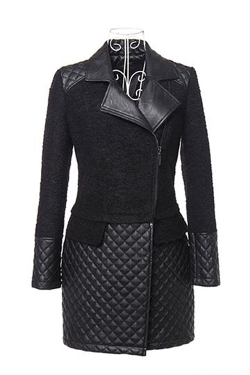 Wool Coat with Detachable Leather Rhombus Plaid Skirt Hem [FEBK0396] - PersunMall.com