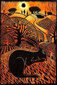 woodcut of a hare