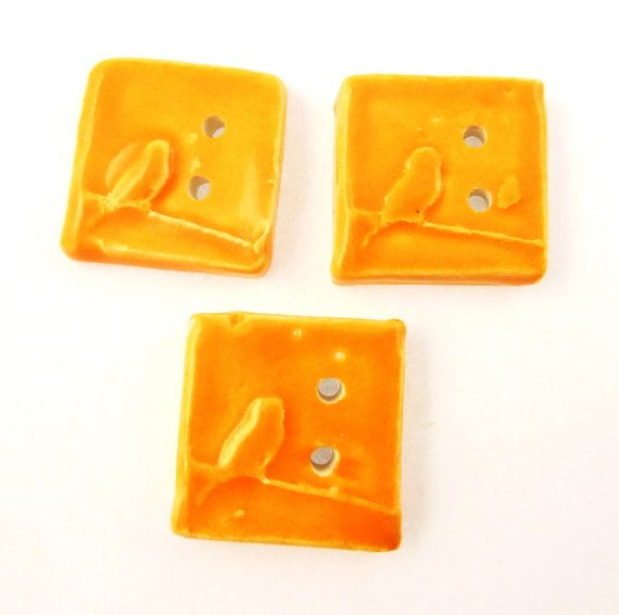THREE Square Orange Bird Ceramic Button.  by buttonsbyrobin2, $11.99