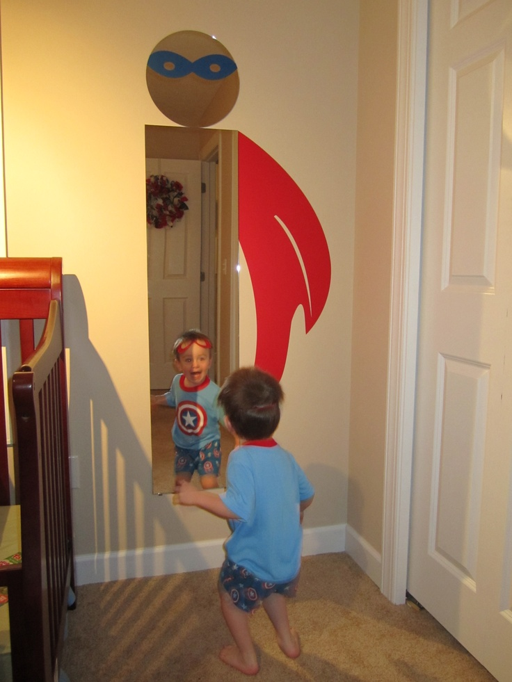"Turn a door mirror and a 12"" round mirror from the craft store into a superhero!  Cape and Mask were a custom request from willowcreeksigns on ETSY."