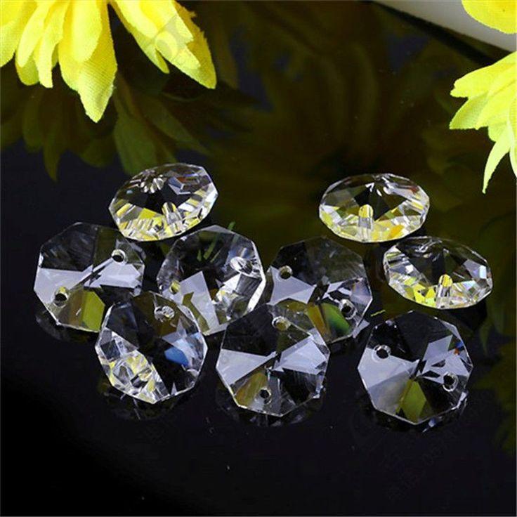 10 stks 14 mFree verzending Kroonluchter octagon kralen opknoping Crystal kraal deur/venster 2 gaten woondecoratie bruiloft accessoires
