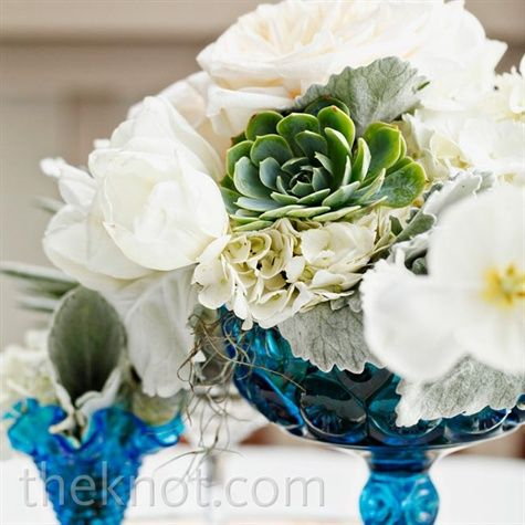 Lush white garden roses dusty miller and succulents - Blue and white centerpieces ...