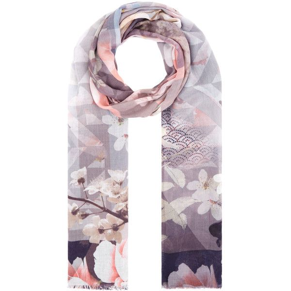 Accessorize Digitial Geo Oriental Scarf ($39) ❤ liked on Polyvore featuring accessories, scarves, floral print scarves, floral scarves, floral shawl and accessorize scarves