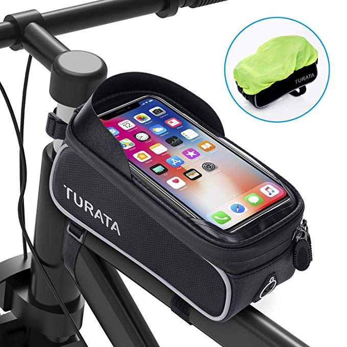 Turata Bike Bags Bicycle Front Frame Bag Waterproof Handlebar Cycling Top Tube Pannier Touch Screen Sun Visor Large Capacity Mobil Bike Frame Bag Bike Bag Bike
