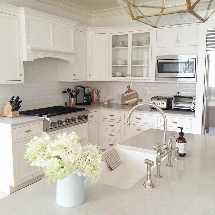 White Kitchen Cabinets With Gray Countertops: White Kitchen, Brass Hardware, Gooseneck Faucet