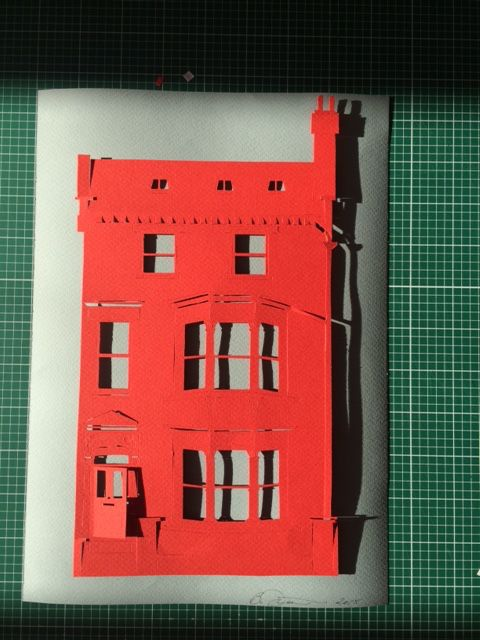 Papercut of Victorian house in London - private commission.  If you would like to commission a papercut of your own home or favourite building, please use the contact page on www.booyorkcity.com