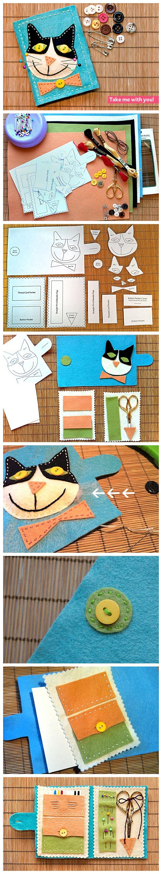 DIY Felt Travel Sewing Kitty by Sew 4 Home -- creepy cat in my opinion but it would be cute to add flowers on the front or some other decoration.