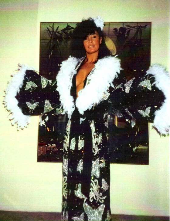 The Sensational Sherri wearing Ric Flair's robe - 1970's