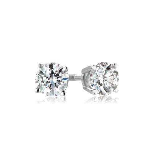 Platinum, Round, Diamond 4-Prong Stud Earrings (1/3 cttw, G-