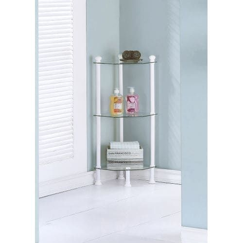 Monarch Specialties Corner shelving unit IV 33 Inch Tall Corner Shelving Unit with Tempered Glass Shelves