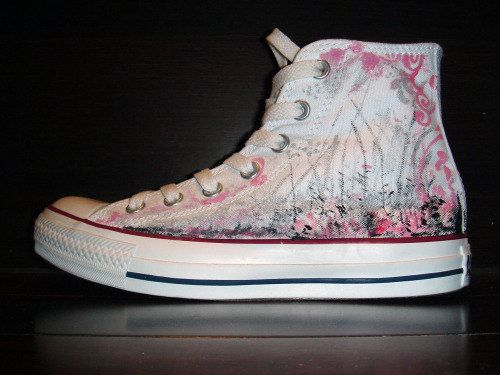 Hand Painted CONVERSE All Star Shoes Pink and by ConverseFans, $110.00