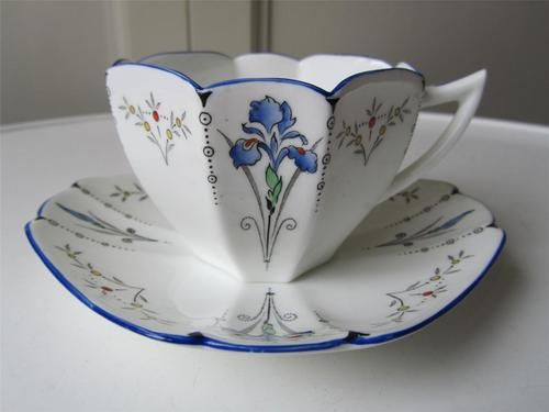 SHELLEY Blue Iris Queen Anne Cabinet Tea Cup & Saucer - Art Deco
