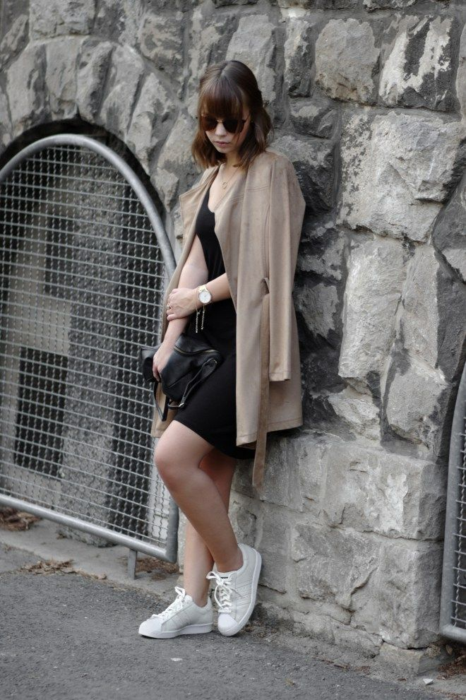 Summer outfit, adidas superstar beige, black dress, suede jacket, casual outfit, fall outfit, rosefield watch, minimal, streetstyle