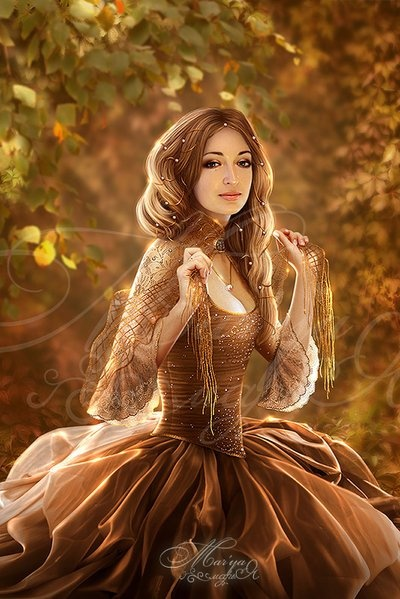 Maiden in a beautiful brown dress