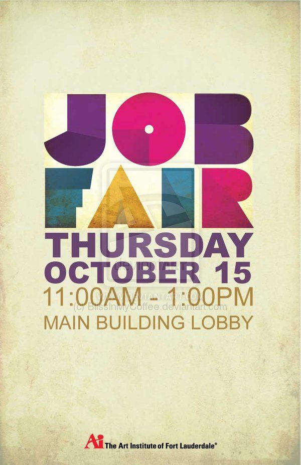 simple i like the color geometry in the words job fair clean and not