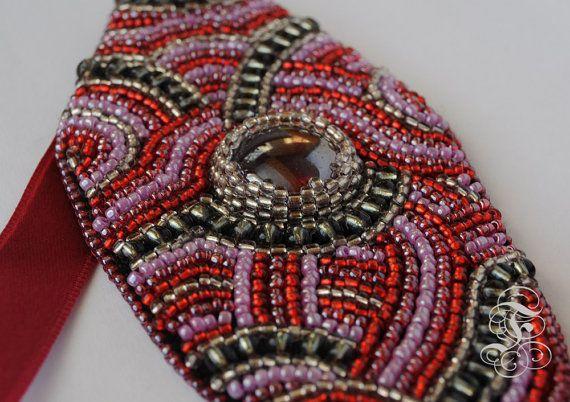 Bead Embroidery Bracelet Fiery Lily by Fantasmat