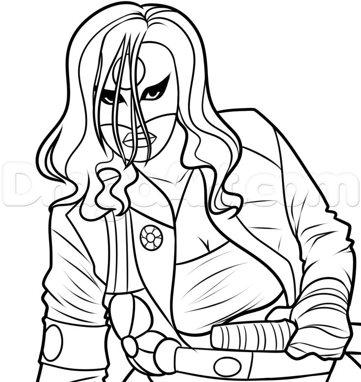 katana coloring page drawing katana from suicide squad step by step dc comics