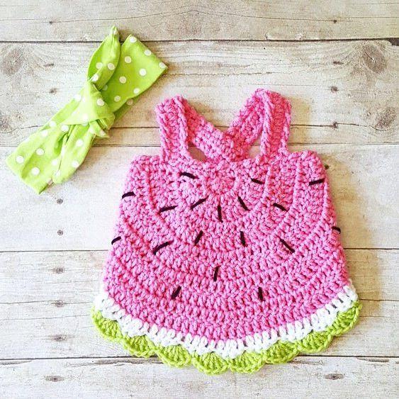 Crochet Baby Watermelon Summer Open Back Swing Top Tank Halter Top Polka Dot Tie Knot Cotton Headband Newborn Infant Toddler Handmade Clothing