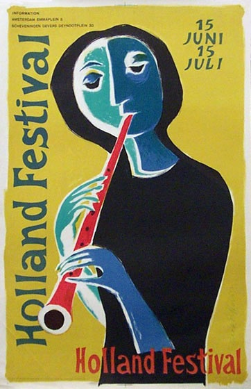 1956 affiche 'Holland Festival' first poster for Holland Festival. Elffers was HF poster designer for 14 years.