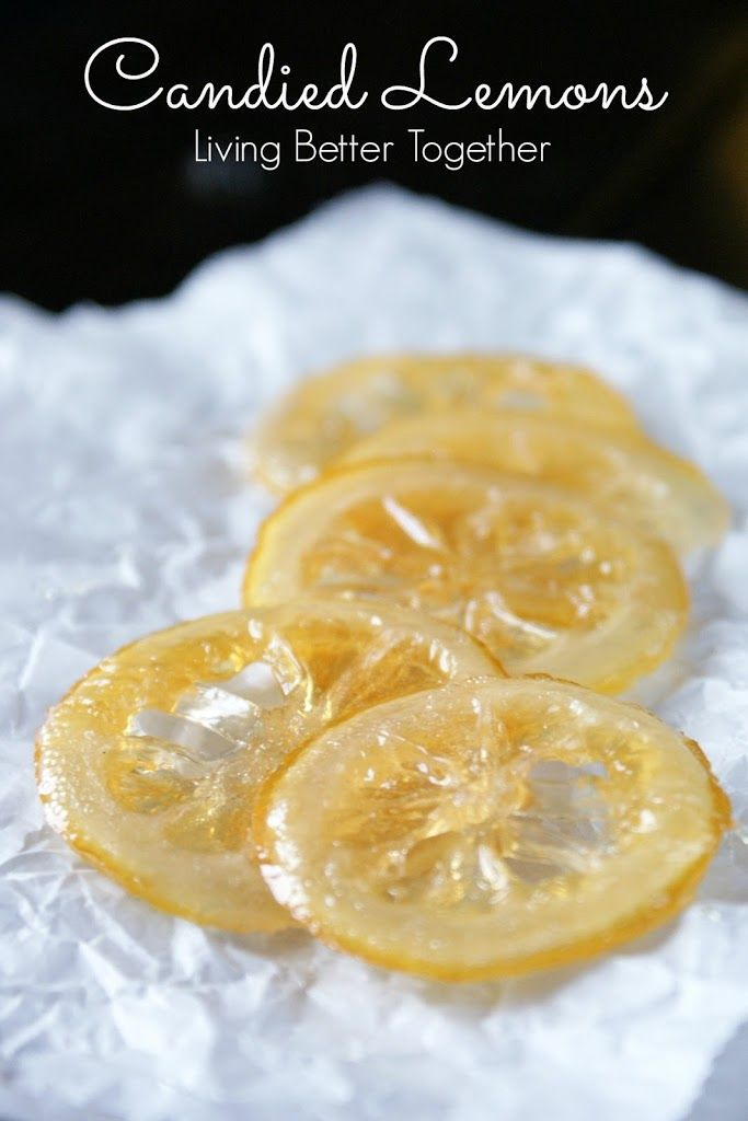 Candied Lemons. Recipe calls for whole lemon slices but you can also do this with rinds after juicing. Just remove the membranes and cut rind to desired size/shape.