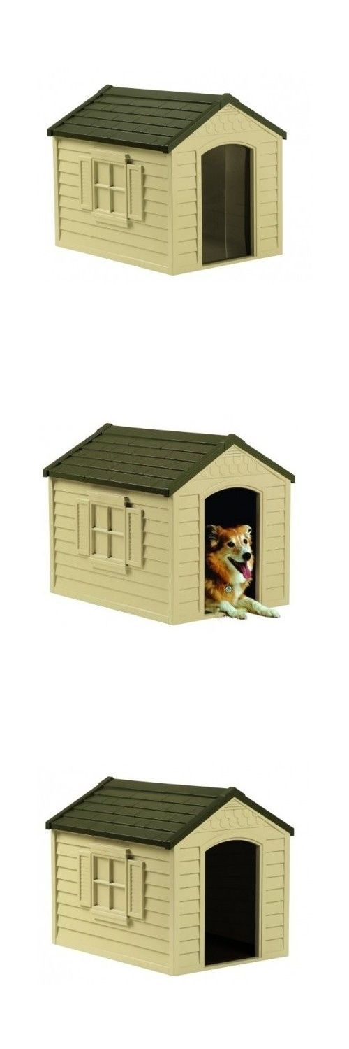 Dog Houses 108884: Dog House Pet Kennel Durable Resin Shelter All Weather Outdoor Large Vinyl Door BUY IT NOW ONLY: $86.95