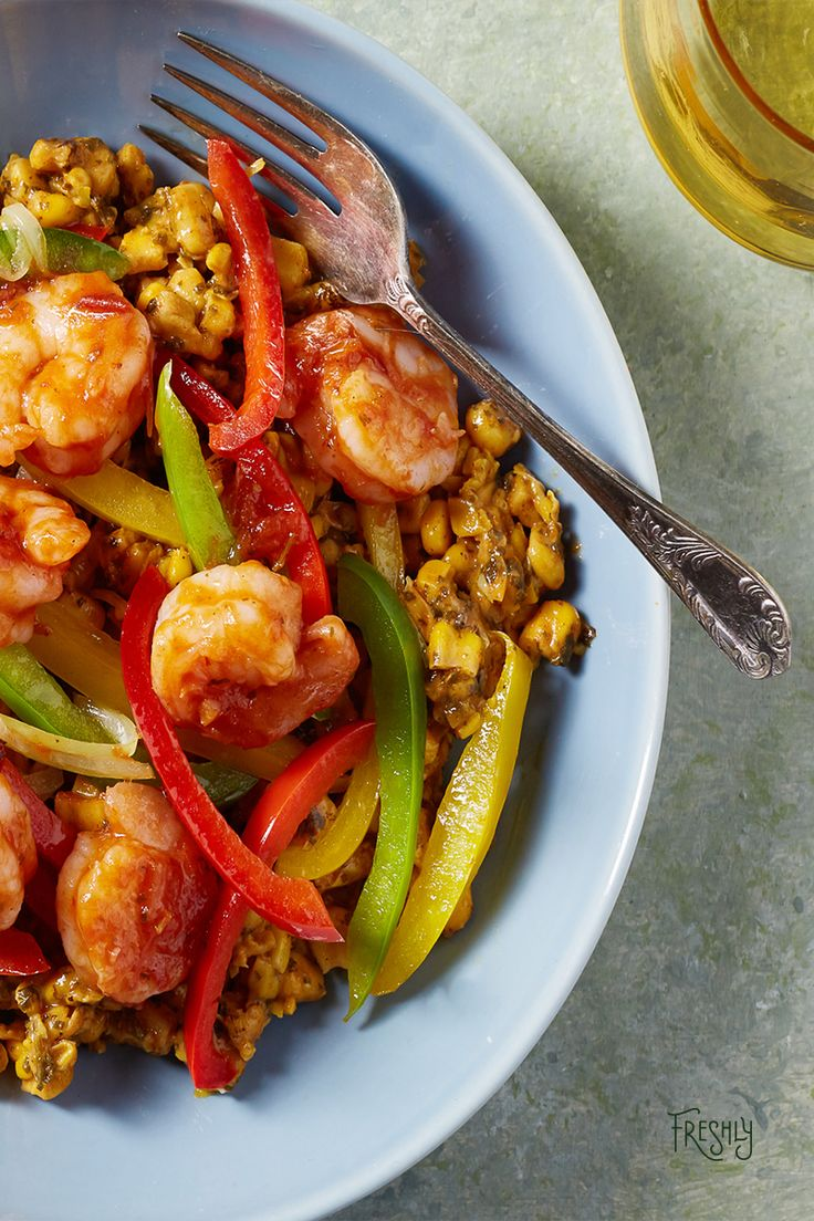 """Sweet AND savory? Try our Shrimp Fajita with Mexican corn for free by using promo code, """"pin639"""", at checkout."""
