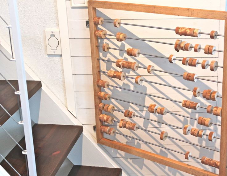 Use vintage counting bead toys as baby gate! What a cute idea!