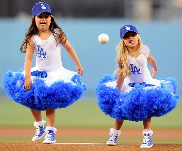 Sophie Grace and Rosie: New ownership has brought a new look to the Dodgers' pitching staff. Here they are baffling the Arizona Diamondbacks at Dodger Stadium.