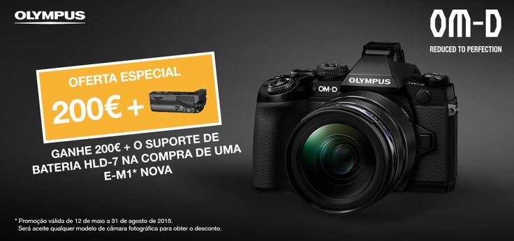 Agora a sua câmara velha ainda rende qualquer coisa  Campanha de Trocas E-M1 - 200€ + HLD-7   DURAÇÃO DA CAMPANHA:  DE 12 DE MAIO A 31 DE AGOSTO  http://www.affloja.com/PROMOCOES/OLYMPUS