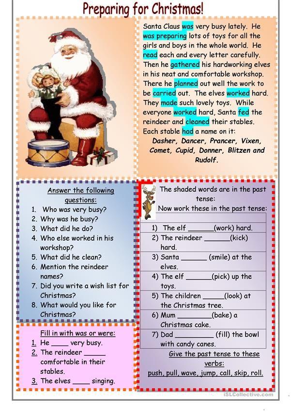 Preparing For Christmas Christmas Worksheets Christmas Lesson Learn English