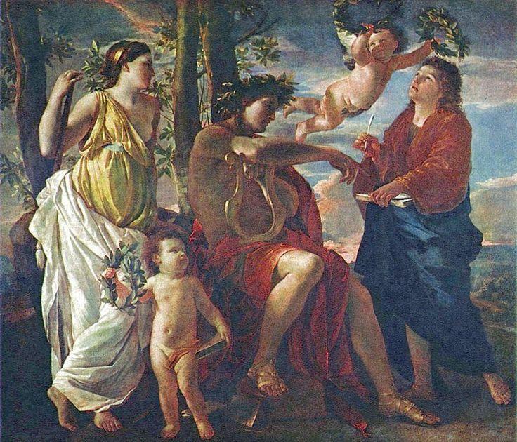 La inspiración del poeta (1624-1633) La mejor colección de pinturas y dibujos de Poussin está en posesión del Louvre de París. Este cuadro es una de sus obras más misteriosas con un colorido derivado de Tiziano y temática clásica. El significado de la obra es la igualdad de la poesía y la pintura la igualdad de la invención de las imágenes y las palabras. Su propósito en cada obra era la claridad de expresión que se lograba a través de la nobleza del diseño preferido al color…