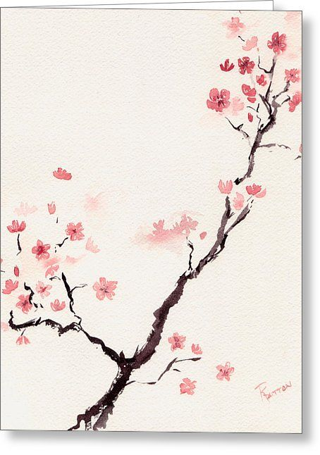 Cherry Blossom 3 Greeting Card by Rachel Dutton                                                                                                                                                                                 More