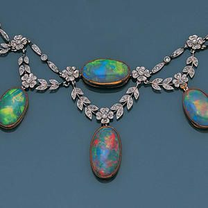 A belle époque opal and diamond necklace, circa 1900 - gorgeous opals!