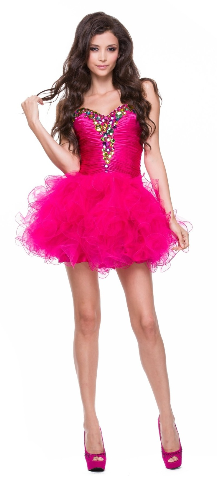 225 best formal dresses images on pinterest prom dress bridal poofy layered ruffle skirt homecoming fuchsia dress jewel strapless 17799 ombrellifo Gallery