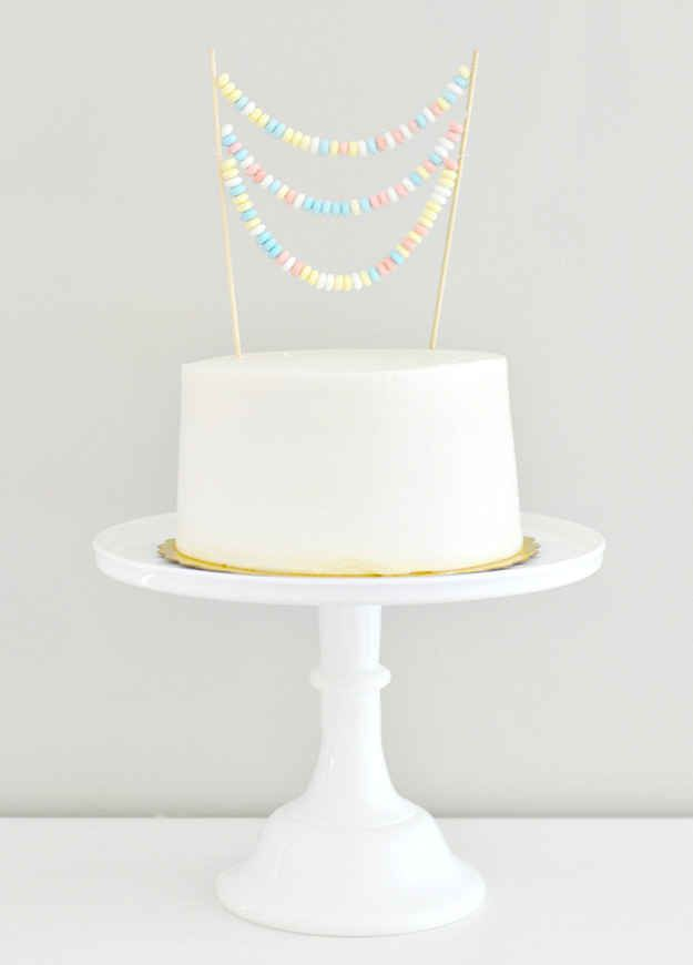 This super-simple white one with a delightful candy necklace topper.
