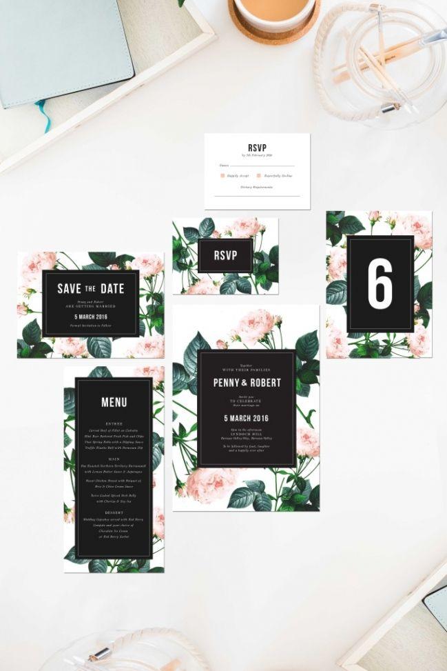 rose modern vintage wedding invitations save the dates roses pink green black white vintage roses floral florals sail and swan melbourne adelaide perth canberra sydney australia wedding stationery