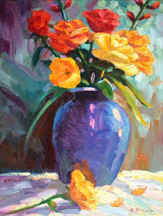 Impressionistic Oil Painting of Flowers Yellow Tulips