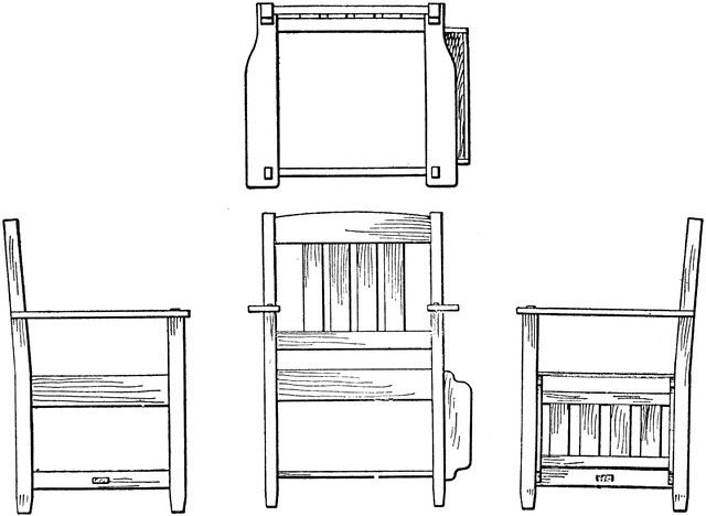 Orthographic projection drawing of an arm-chair by Thomas E. French and Carl L. Svensen