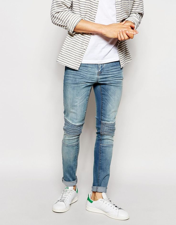 Image 1 of ASOS Super Skinny Jeans With Panel Detail