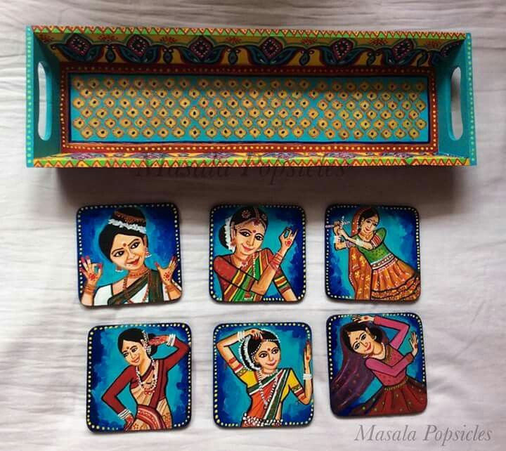Authentic hand painted wooden tray and coasters of Indian dance forms
