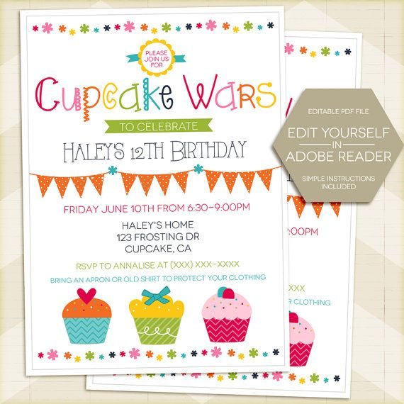 Cupcake Wars Birthday Party Invitation, Baking Birthday Invite for girl 5x7 - digital printable editable PDF Edit yourself in Adobe Reader