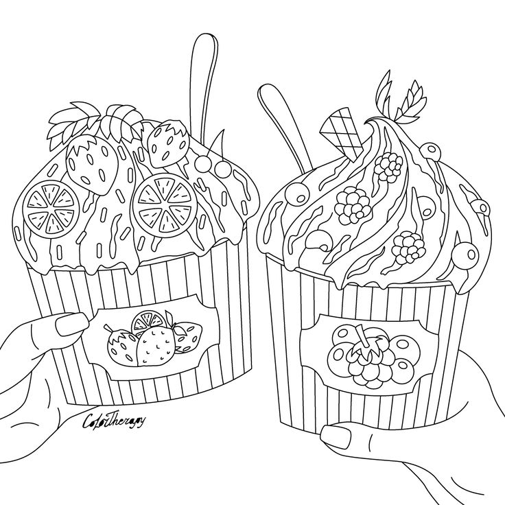 89 best Cupcakes + Cakes Coloring Pages for Adults images ...