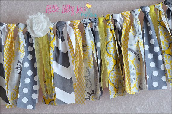 Yellow and Gray Chevron Polka Dot Rag Tie Banner by LittleLillyLou