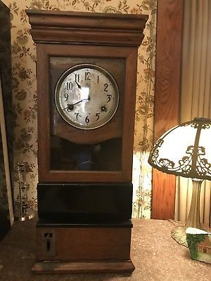 Antique-International-Time-Recording-Oak-Time-Clock