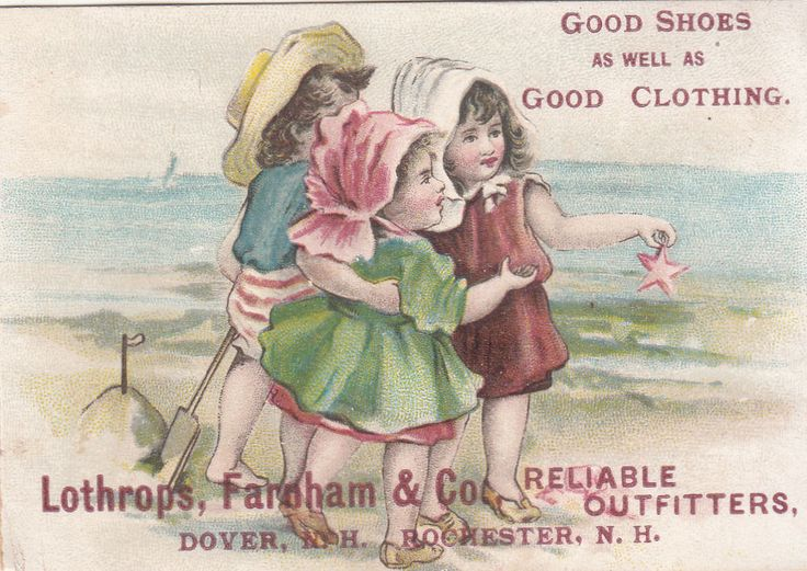 Lothrops Farnham Outfitters Dover NH Girls on Beach Victorian Card c1880s #LothropsFarnhamCoClothing