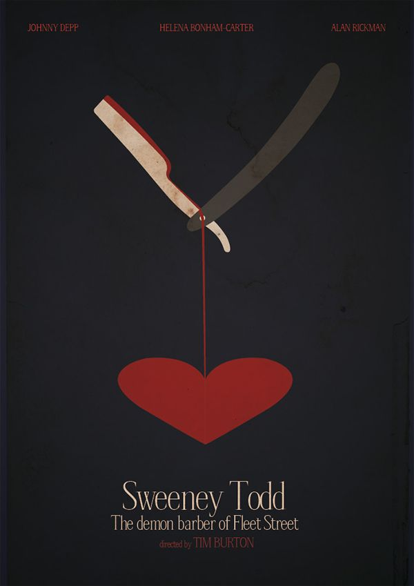 Great alternative poster for Sweeney Todd. Perfectly sums up the contrasting natures!