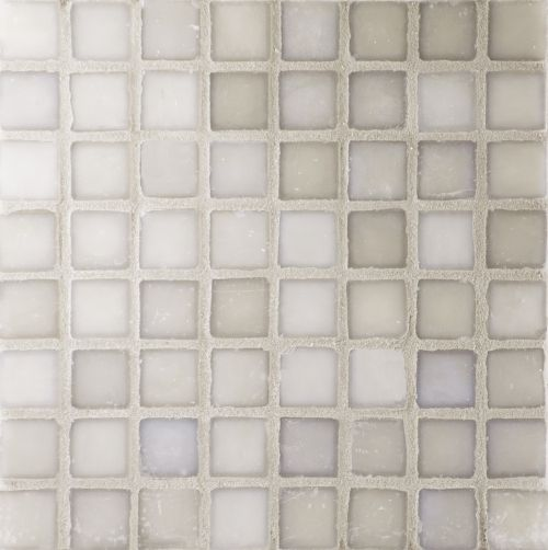 Loft Smoke - Smoky grey iridescent irregular edged glass mosaic tile. Chip size 1.6x1.6cm.