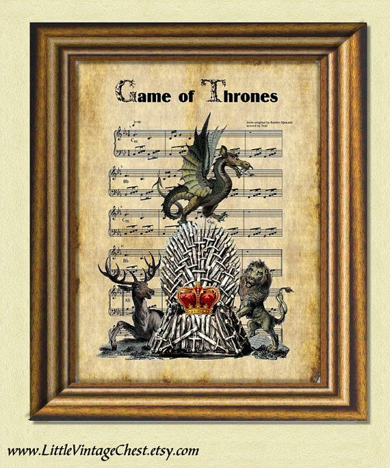 Game Of Thrones SONG SHEET Wall art print  by littlevintagechest